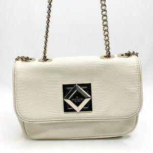 KATE SPADE White Croc Embossed Handbag Chain Strap